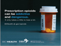 Prescription opioids can be addictive and dangerous. (bottle of medication)